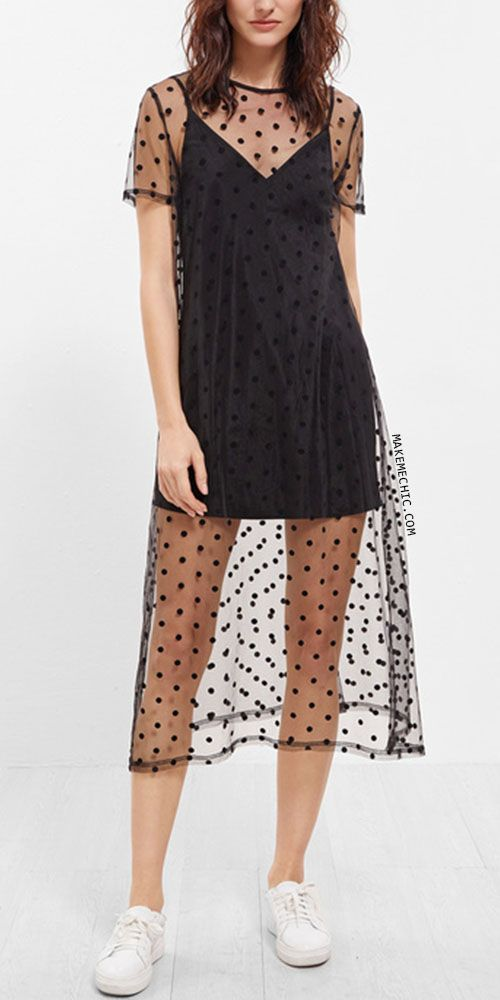 Black Sheer Polka Dot Mesh Short Sleeve Dress With Cami Top