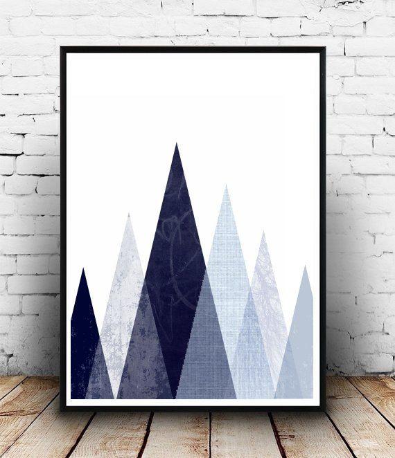 Home and Living, Wall Decor, Geometric Art Print, Triangle Wall Print, Printable…