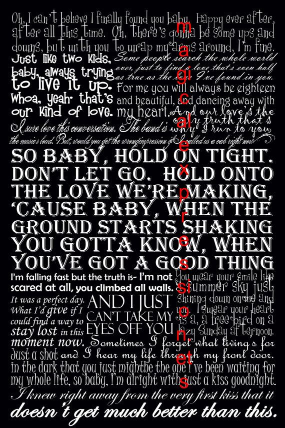 Lady Antebellum Band Typography Song Lyric by MagicalExpressions, $30.00