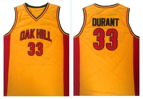 Warriors #33 Kevin Durant Gold Oak Hill Academy High School Stitched NBA Jersey