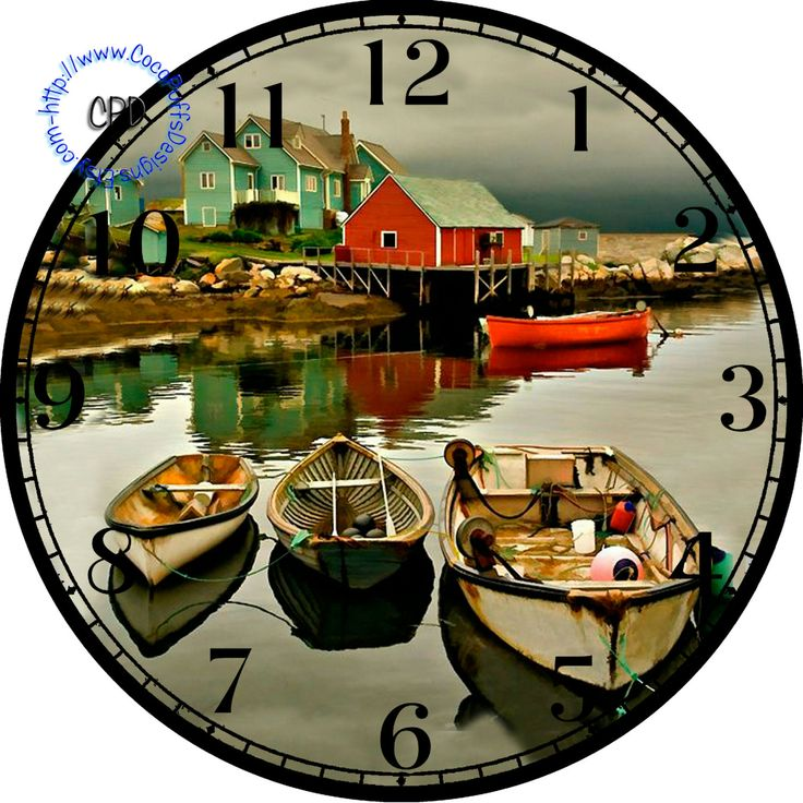 "Fishing Boat Harbor --DIY Digital Collage - 12.5"" DIA for 12"" Clock Face Art…"