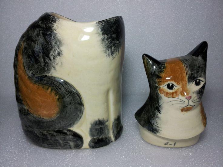 Сидя милая рука Награжден керамический кот по AntiquesToPresent