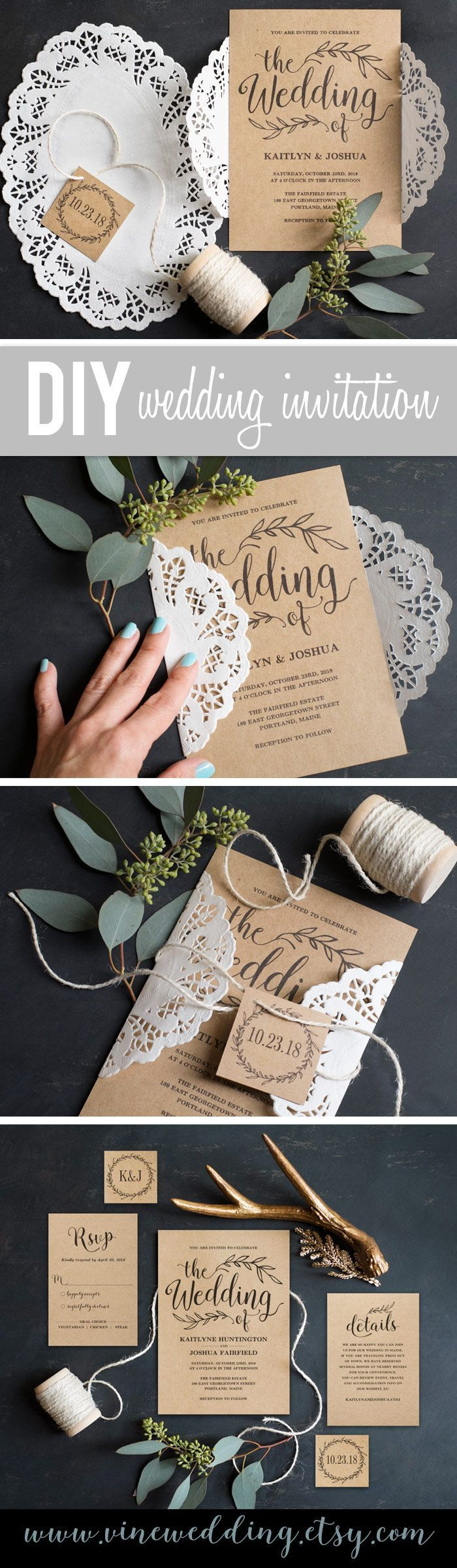 diy rustic wedding invitations burlap%0A    Unique DIY Wedding Invitation Ideas   Diy winter weddings  Winter wedding  invitations and Winter weddings
