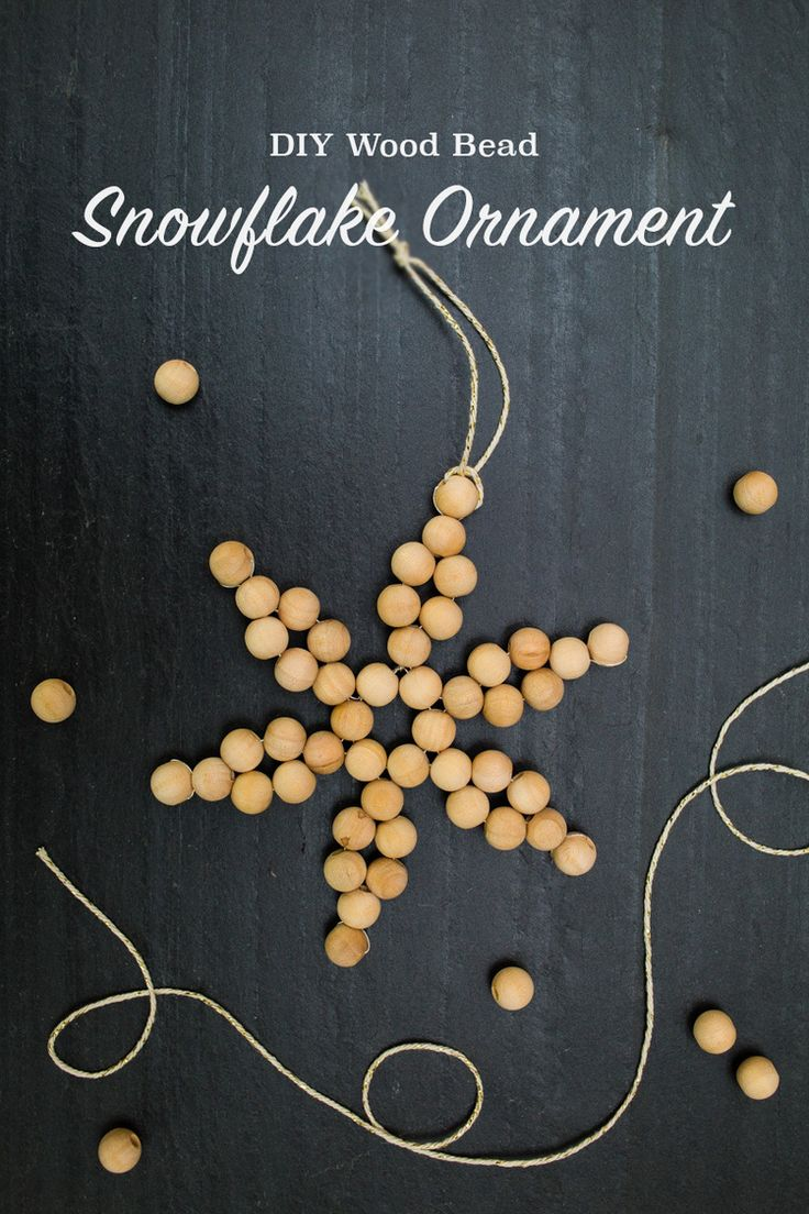 Christmas snowflake ornaments - Diy Wood Bead Snowflake Ornaments Tinsel Trim