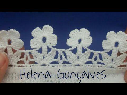 Bico de crochê flores #216 - YouTube