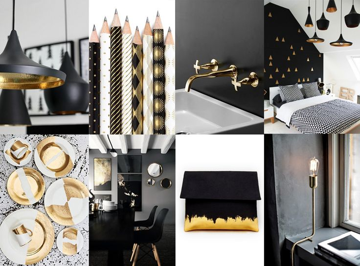 Black, white and gold in chique, modern interior #gold #interior #colour
