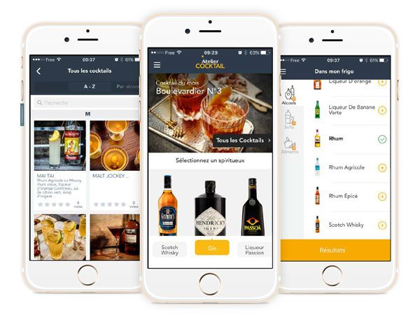 La nouvelle application mobile Atelier Cocktail #app #cocktails