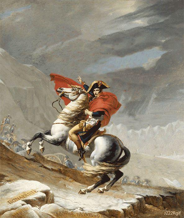 Napoleon franchissant le col du Grand Saint Bernard Jacques Louis David (1800)