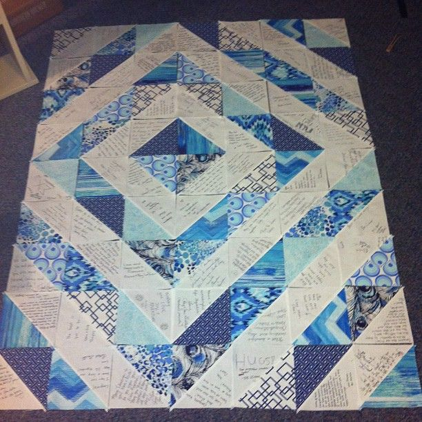 Wedding guest book quilt, via Flickr.