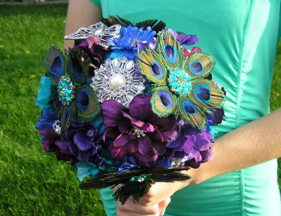 Peacock Wedding Bouquet by DoIHearWeddingBells on Etsy, $249.00................Could so make this