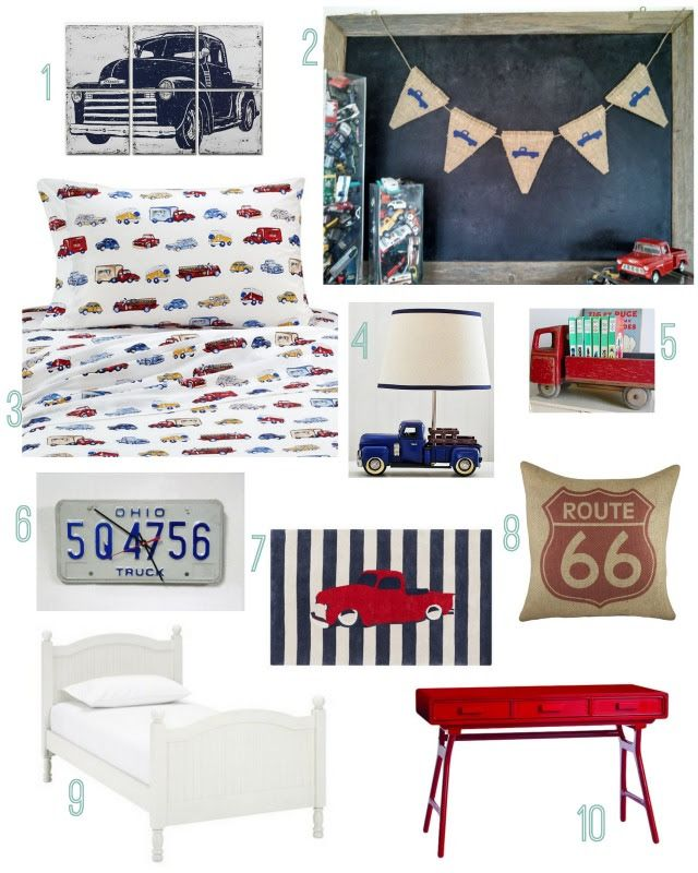 Check out the Sweet Thymes Burlap Truck Banner featured on Rustic Baby Chic's pickup truck boys room theme. Banner can be found here: https://www.etsy.com/listing/184110474/truck-burlap-banner-baby-boy-nursery