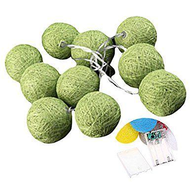 SIEGES 20er Baumwolle Ball LED Beleuchtung Party Terrasse Hochzeit Weihnachtsdekoration Grün(Batterie nicht inklusive)