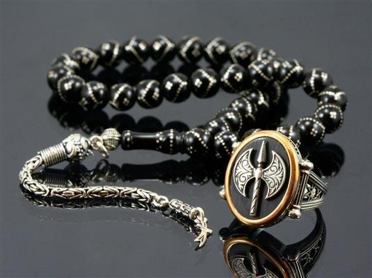 Oltu Taşlı Tesbih - Gümüş Yüzük Kombin