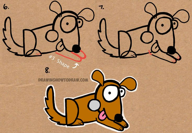 how to draw a dog with numbers