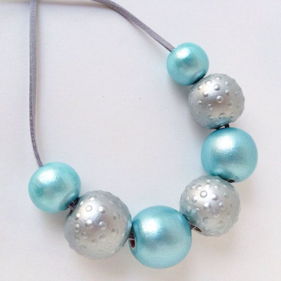 Hand Painted Round Wood Bead Necklace Ice Blue by TheColorfulNest