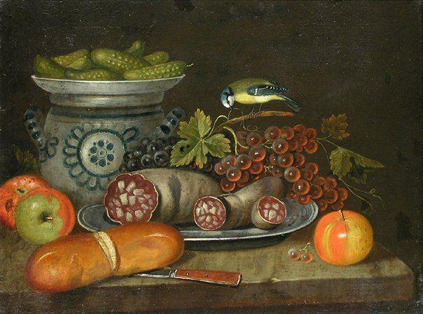 """Хильдегард Раушенбах """"Да, это были времена"""" """"Салат со сметаной и ветчина —моё любимое блюдо. Восточно-прусская кухня, она найдет предпочтение всюду"""" Авторка неизвестна. Натюрморт с виноградом, яблоками, колбасой, огурцами, хлебом и птицей. Италия, XVII век"""