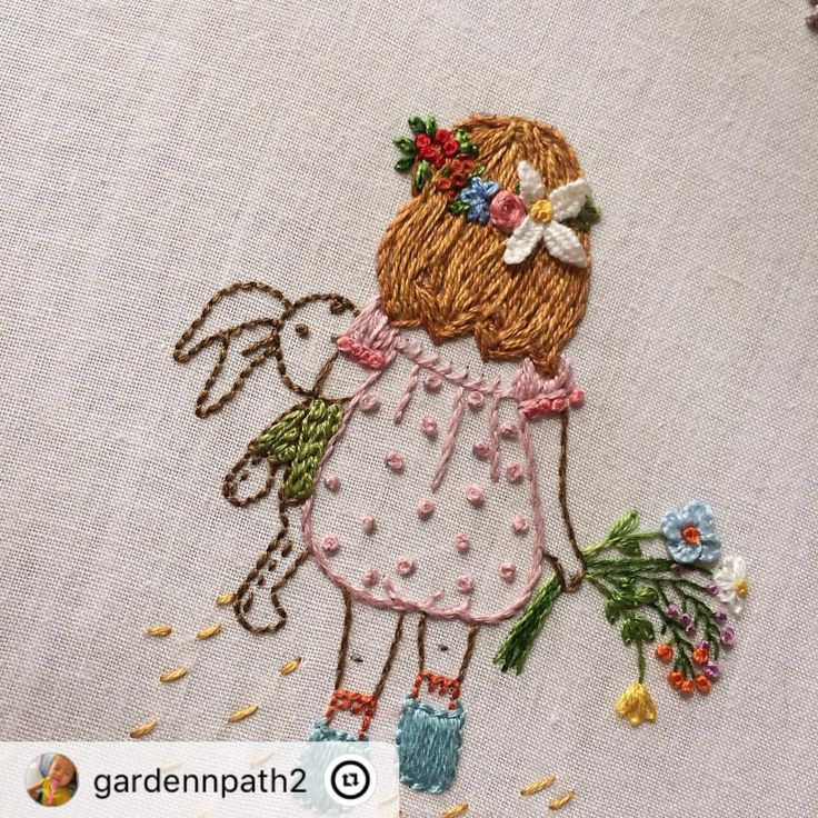"""This post was reposted using @the.instasave.app #theinstasaveapp ・・・ """"#프랑스자수 #gardenpath #embroidery #꼬마아가씨 #lovely #little #girl #handmade #handstitch #flower"""""""