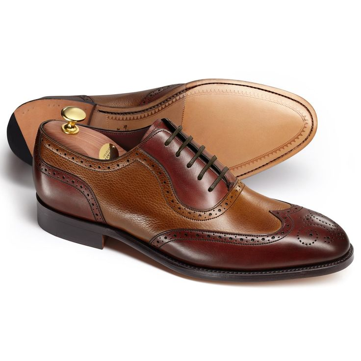 Brown Hayes tumbled calf co-respondent shoes | Men's business shoes from Charles Tyrwhitt, Jermyn Street, London
