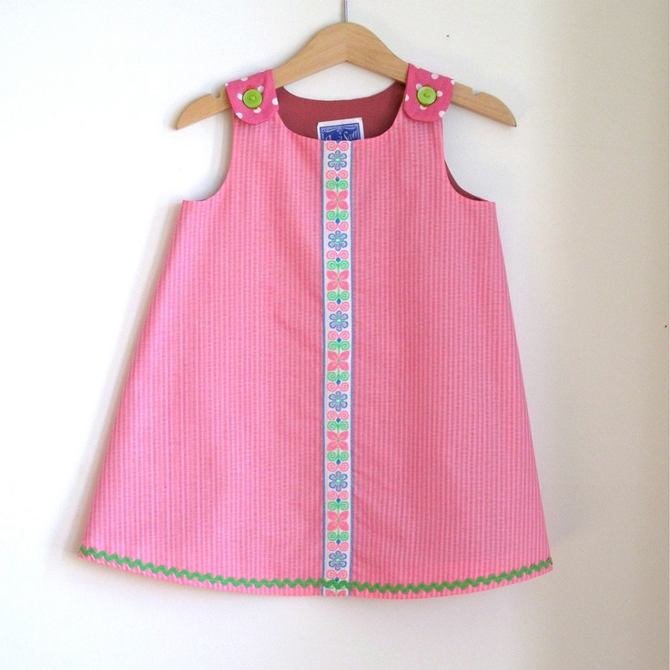 Pink & Green Preppy Toddler Girls Dress - size 2T - girls childrens  clothing. $36.00, via Etsy.