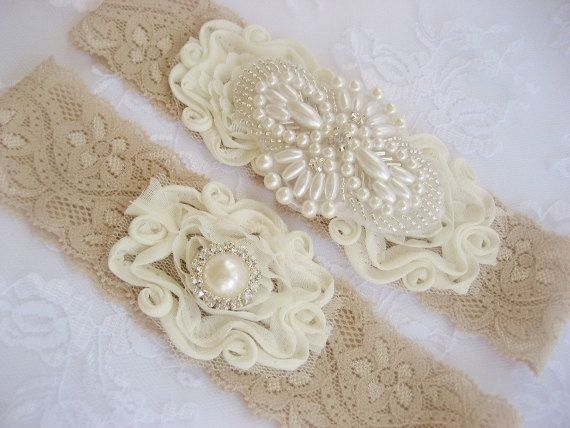 Vintage Wedding Garter Set Toss Ivory And Taupe Lace With Rhinestones Pearls On Etsy