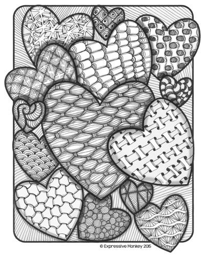 FREE heart coloring pages by Expressive Monkey. Use these coloring pages for Zentangling, teaching about color, or just color them in as a way to relax. Lesson ideas are included.