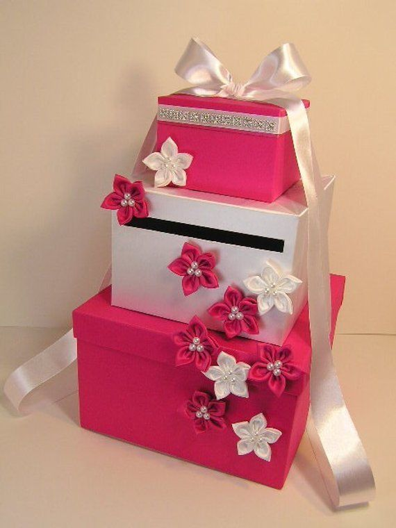 Wedding Card Box Fuchsia Shocking Pink And White Gift Card Box Money Box Holder Customize Wedding Card Boxes Purple White Wedding Card Box Card Box Wedding