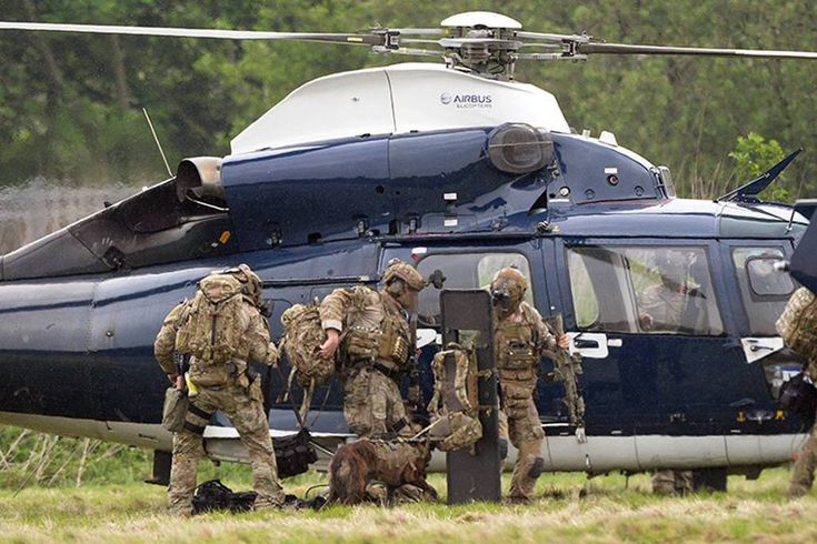 British Special Air Service (SAS) counter terrorism team (Blue Thunder) on exercise outside Manchester UK last week with one of the units new Airbus' AS365N3 Dauphins [1024x683]