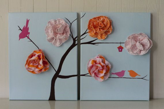 Bird Nursery Decor Baby Girl Nursery Pink Light by JoanitaBonita