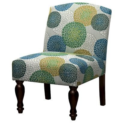 Foster Armless Chair Blue Green Yellow Floral