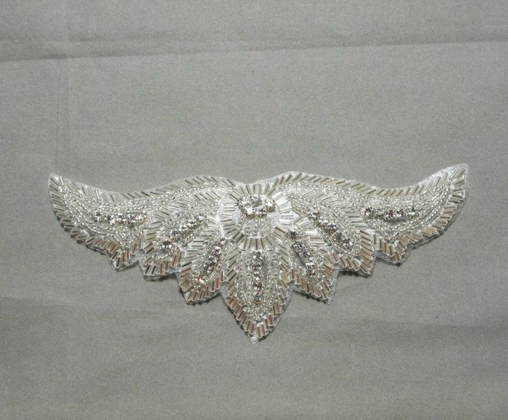Sew/Iron Crystal Rhinestone Sash Wedding Bridal Gown Wing Applique