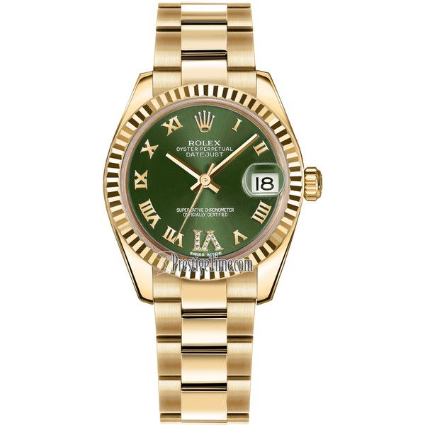 Rolex Datejust 31mm Yellow Gold 178278 Olive Green VI Roman Oyster... (82.715 RON) ❤ liked on Polyvore featuring jewelry, watches, gold dial watches, gold wrist watch, dial watches, rolex wrist watch and gold jewellery