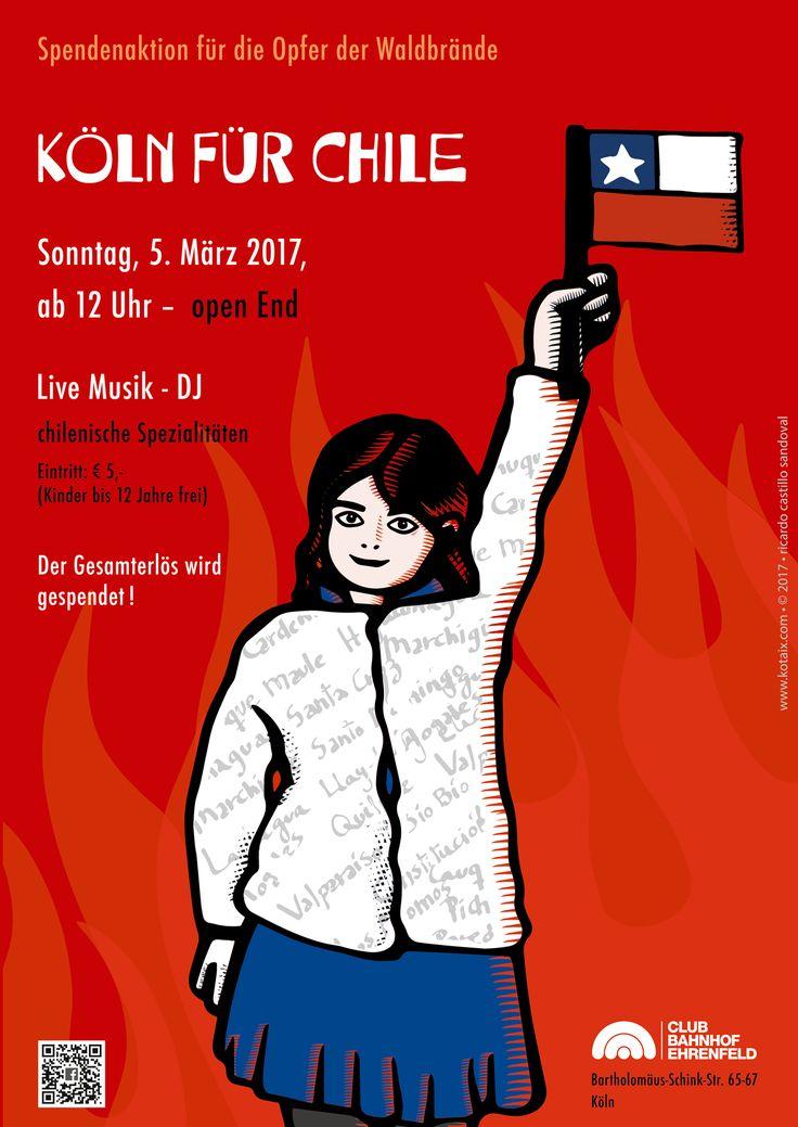 "©2017 Ricardo Castillo Sandoval Poster para el evento ""Köln hilft Chile""   5.3.2017"