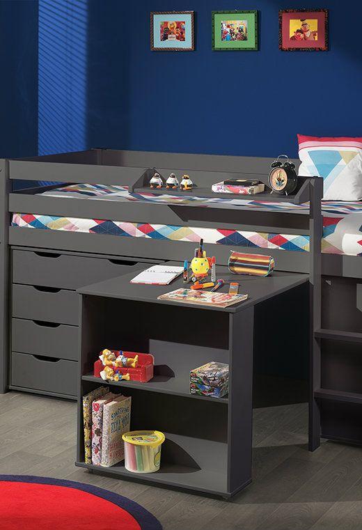 Spielbett Pino mit Schreibtisch, Regal und Schubladenkommde, 90 x 200 cm Farben: Taupe, Weiß