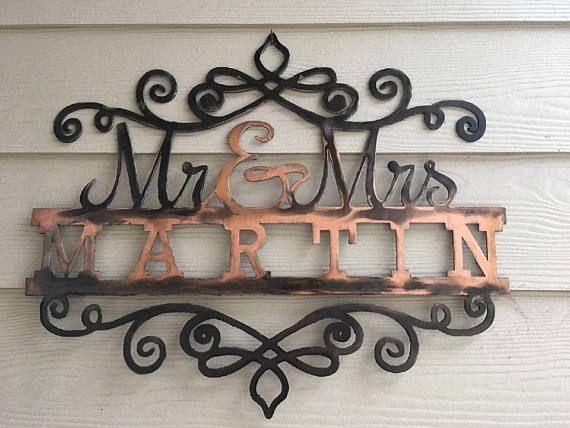 Mr and mrs last name monogram last name sign custom wedding