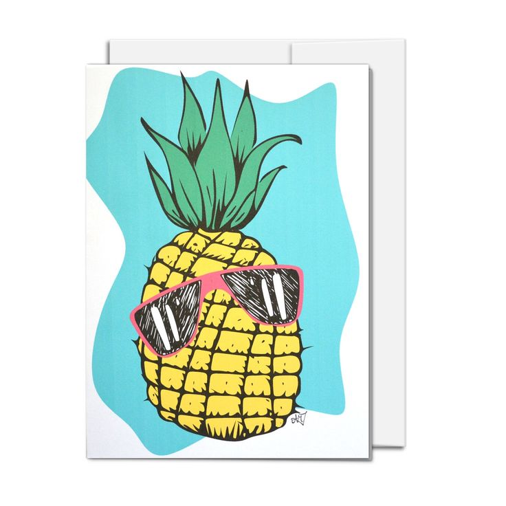 All Occasion Card, Cool Pineapple illustration, illustrated all ages card, all occasion card by AMTaylorArt on Etsy https://www.etsy.com/ca/listing/450556980/all-occasion-card-cool-pineapple