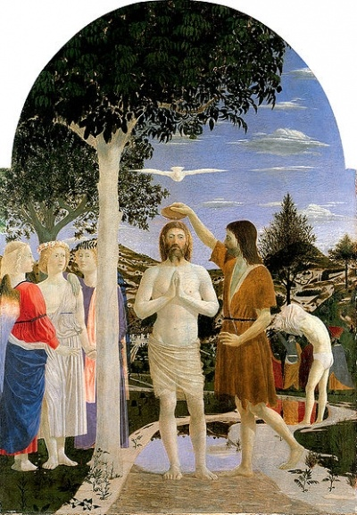 ARTE RINASCIMENTALE: Il Battesimo di Cristo - Piero della Francesca - 1440-45. Londra, National Gallery.: