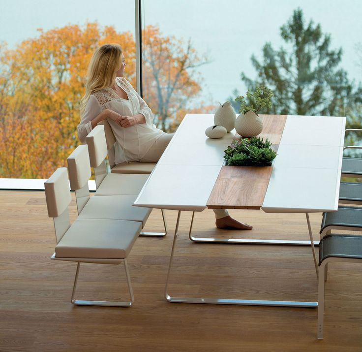White and wood dining table #dining #diningset #diningtable #modern