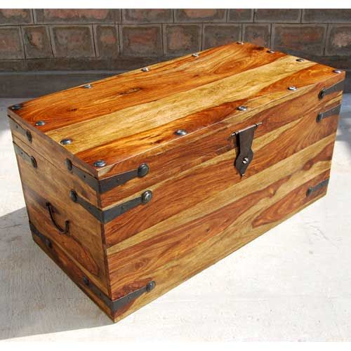 Solid Wood Dallas Trunk Coffee Table With Wrought Iron Toys Storage Chest And Wood Storage