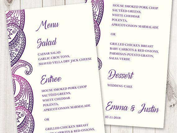 Printable Wedding Menu Template Paisley In Purple And Violet DIY Cards
