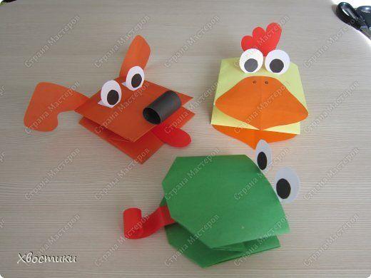 Игрушка Мастер-класс Раннее развитие Оригами Бумажные игрушки на руку МК+шаблоны Бумага Клей фото 1