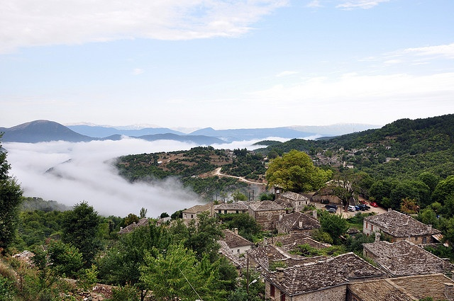 That's the view from the Zagori village - Mikro Papingo (Greek: Πάπιγκο, Papigko, Papigo). These timeless villages are built in similar design..