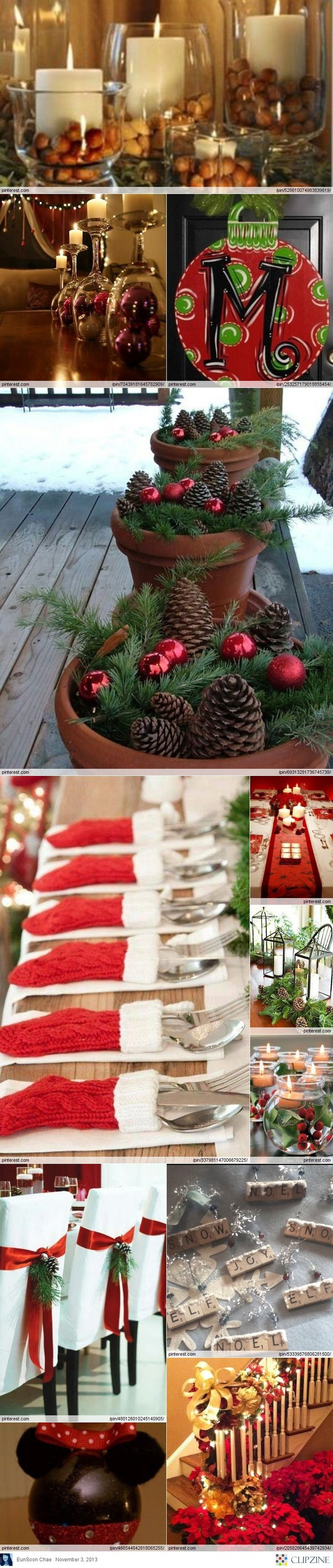 Christmas Decorations - love the terra cotta pots, great use for them during the winter.