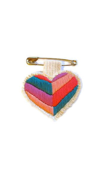 Mini heart badge of love- embroidered chevron