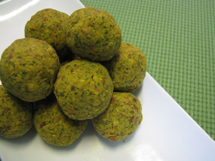 Curry/ Spinach Falafels  2 c. pre-cooked chickpeas 1/2 c spinach,thawed from frozen  2 tsp of curry powder (more if desired) 1 tsp dill 1/2 lemon,squeezed 2 tbsp olive oil sea salt and cracked pepper   Add all to food processor and blend until chickpeas are smooth. Roll into balls and enjoy as they are, or coat them in crushed almonds. Bake at 350 until warmed through. Store them in the freezer and have them any time. Great with a salad, or as is.  lotus raw vegan living original recipe*