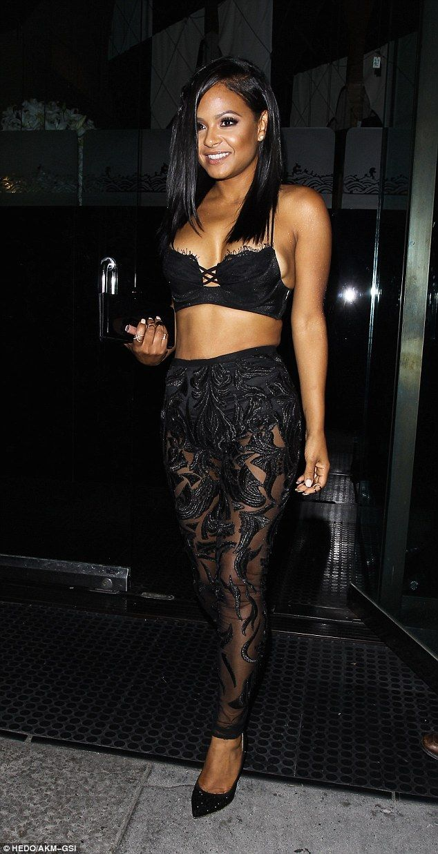 Show-stopper: Christina Milian looked sensational as she visited Mr Chow's restaurant in Los Angeles following the BET Awards on Sunday