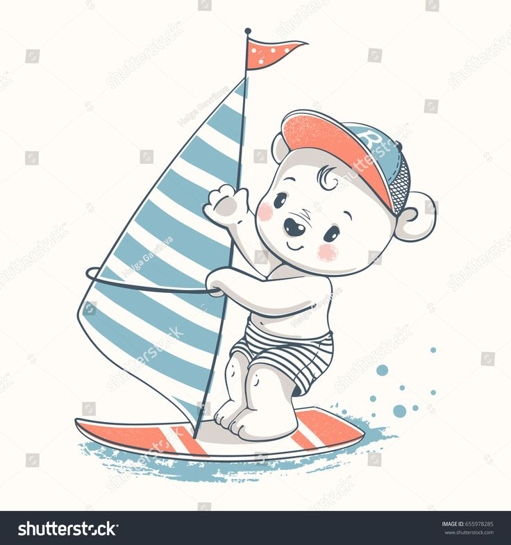 Cute baby bear windsurfer cartoon hand drawn vector illustration. Can be used for baby t-shirt print, fashion print design, kids wear, baby shower celebration greeting and invitation card.