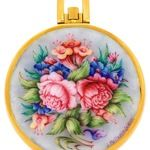 Patek Philippe Ref. 715/8 Watch with Unique Enamel Miniature of A Peony and Flower Bouquet By J. Pellarin-Leroy