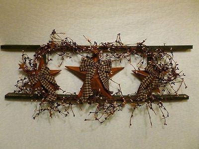 Country Ladder Decor | Star Ladder Wall Decor Country Primitive Home Decor  Berries .