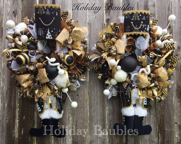 Double front door Nutcracker Wreaths by Holiday Baubles