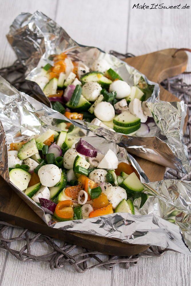 Mozzarella-Gemüse-Päckchen vom Grill Rezept